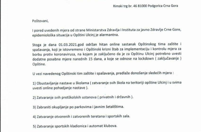 Opštinski krizni štab traži pooštravanje mjera u Ulcinju
