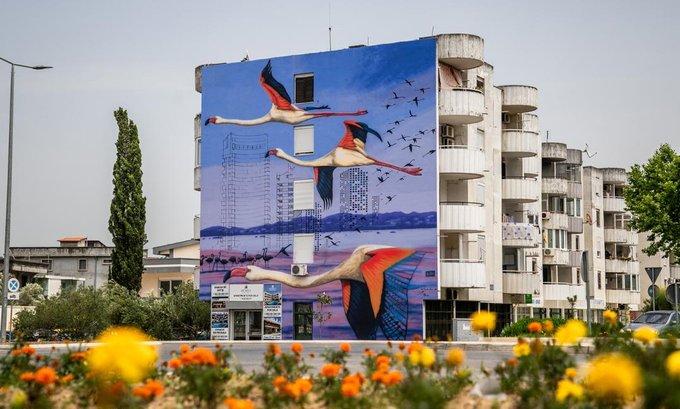 Mural flamingosa predstavlja simbol Ulcinske solane i Ulcinja